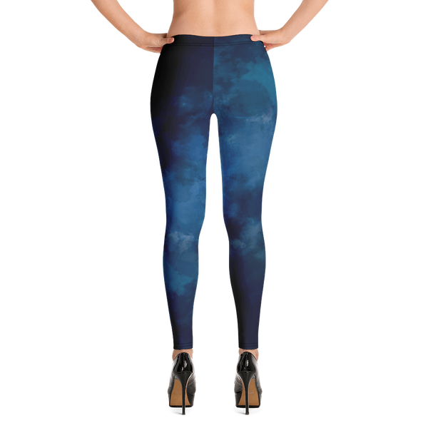 Watercolor Blue Dark Print Leggings - Hosanna Store