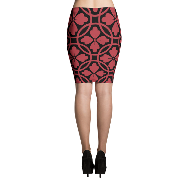Black & Red Pencil Skirt - Hosanna Store