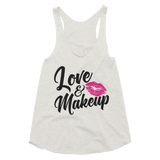 Love & Makeup Women's Tri-Blend Racerback Tank