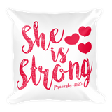 She Is Strong Basic Pillow Case w/ stuffing