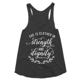She Is Clothed in Strength & Dignity Women's Tri-Blend Racerback Tank - Hosanna Store