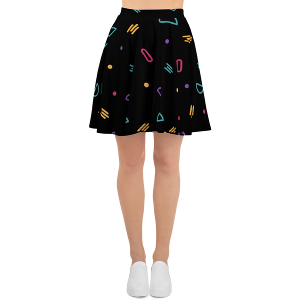 Fun Shapes Abstract Pattern Skater Skirt - Hosanna Store