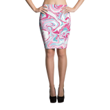 Marble Pink Pencil Skirt