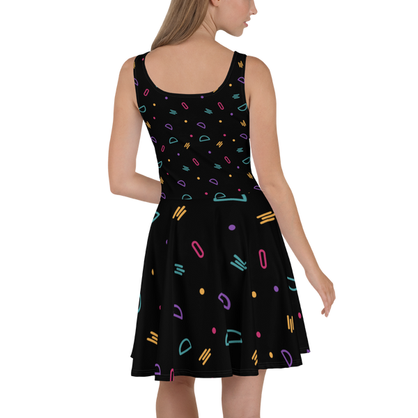 Fun Shapes Abstract Pattern Skater Dress - Hosanna Store