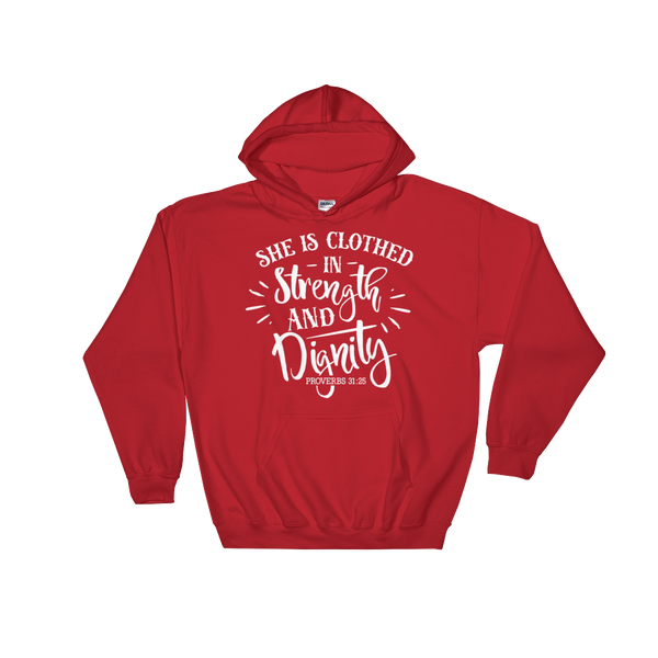 She is Clothing in Strength & Dignity Hoodie - Hosanna Store