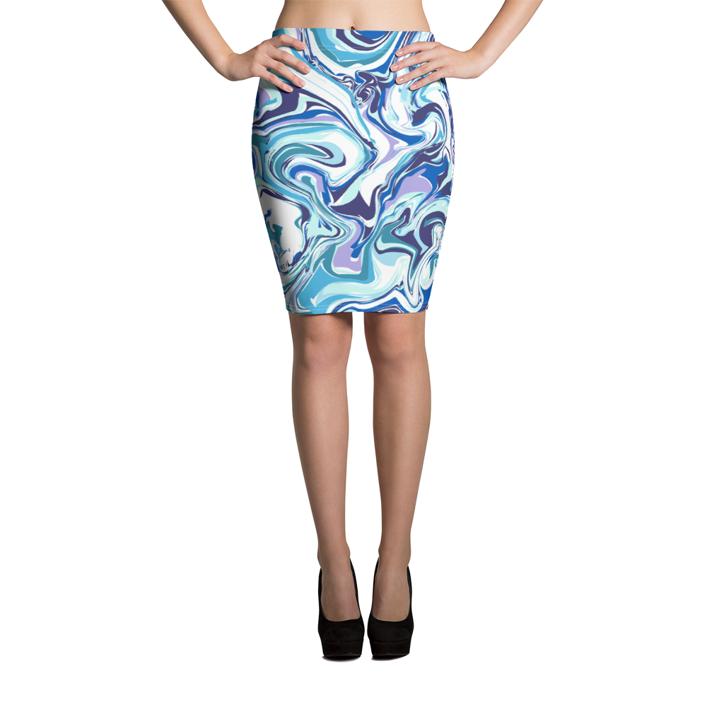 Marble Blue Pencil Skirt - Hosanna Store