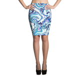 Marble Blue Pencil Skirt