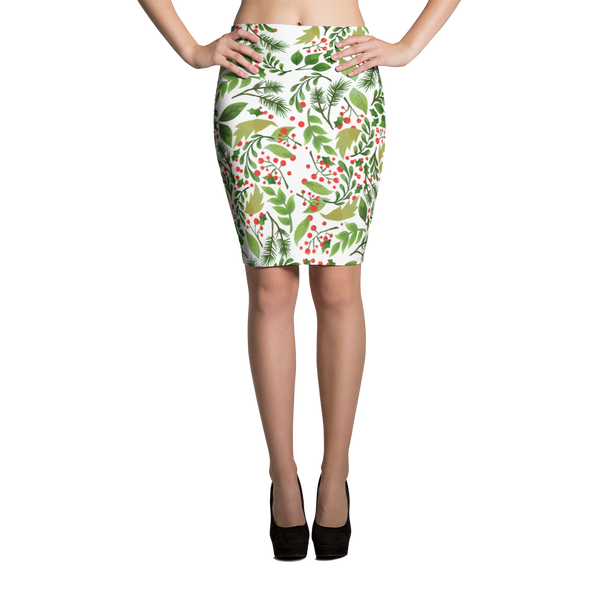 Holly Pattern Pencil Skirt
