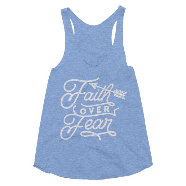 Faith Over Fear Women's Tri-Blend Racerback Tank