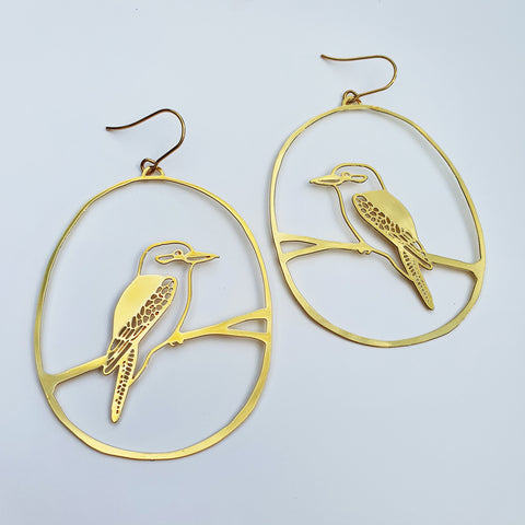 Kookaburra dangles in gold