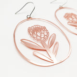 Protea dangles in rose gold