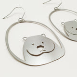 Wombat dangles in silver