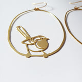 Fairy Wrens dangles in gold