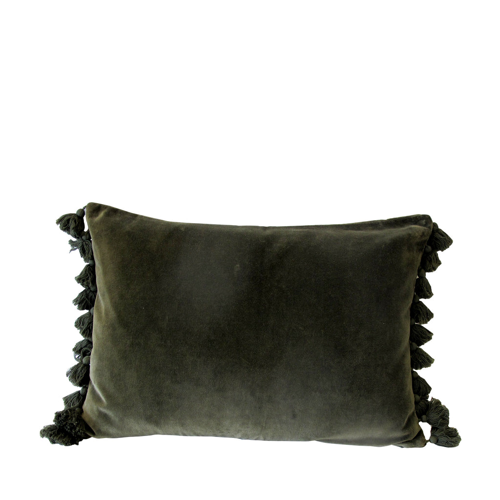 OLIVE VELVET TASSEL CUSHION