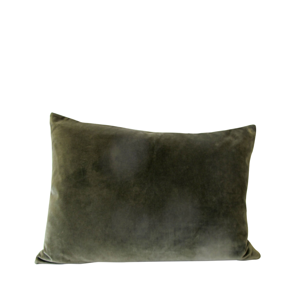 OLIVE VELVET CUSHION LARGE