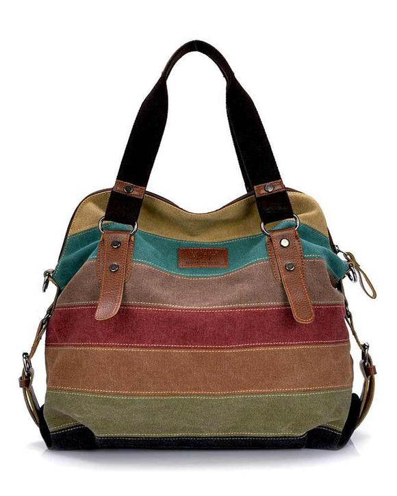 Color Striped Canvas Shoulder Satchel