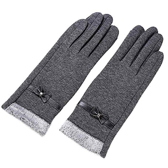 Elegant Bow Full Finger Cashmere Gloves
