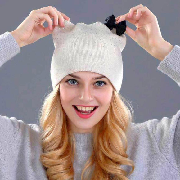 Dandy Rabbit Fur Wool Knitted Hat