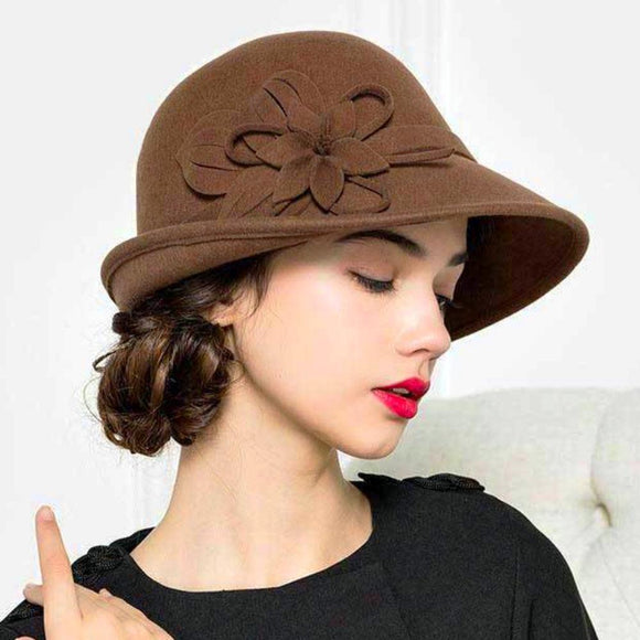 Felt Dome Trilby Hat with Side Flower