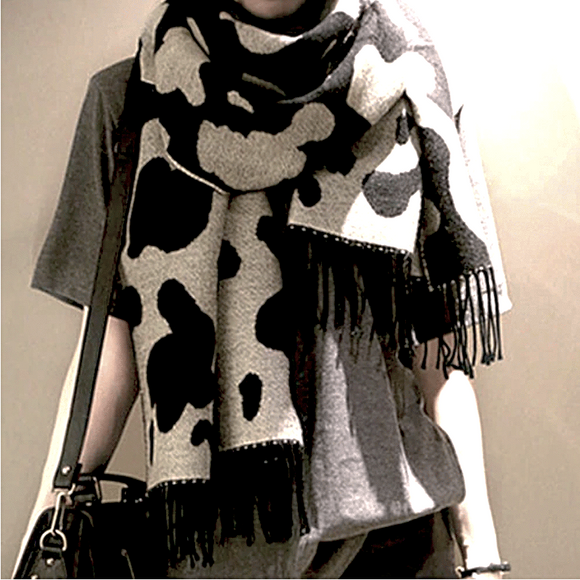 Cow Spots Printed Warm Fringed Scarf