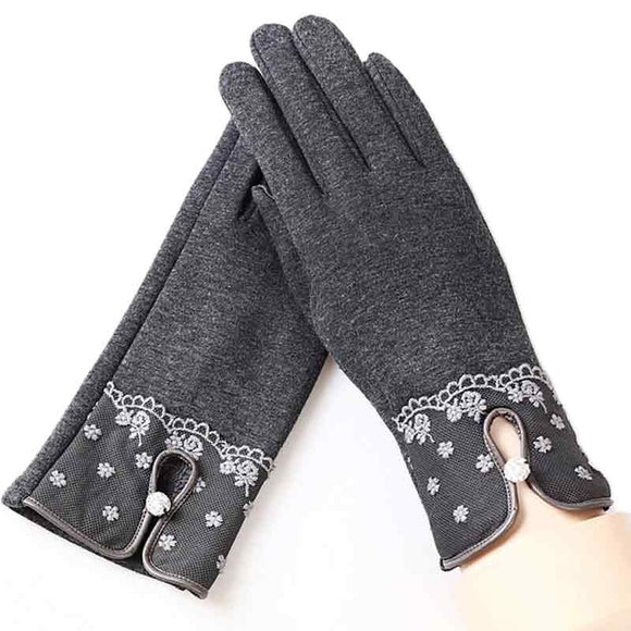 Cashmere Buttons Full Finger Gloves