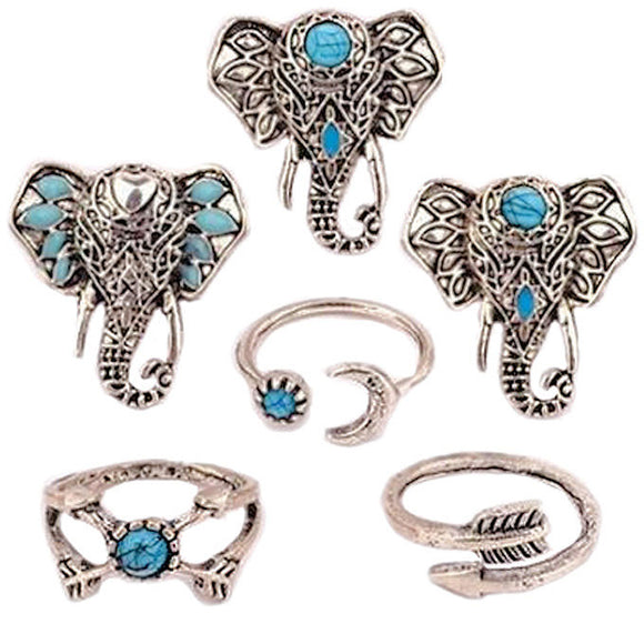 6 Piece Blue Stone Elephant Rings Set