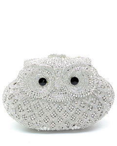 Ladies Crystal Owl Metal Clutch Bag