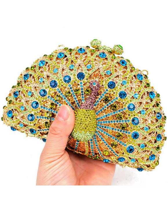 Luxury Crystal Peacock Evening Clutch