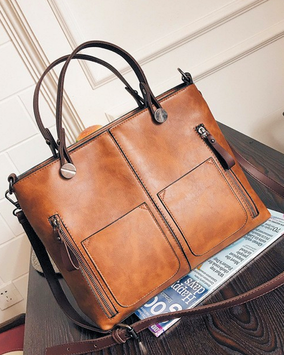 Double Pocket Designer Vintage Satchel