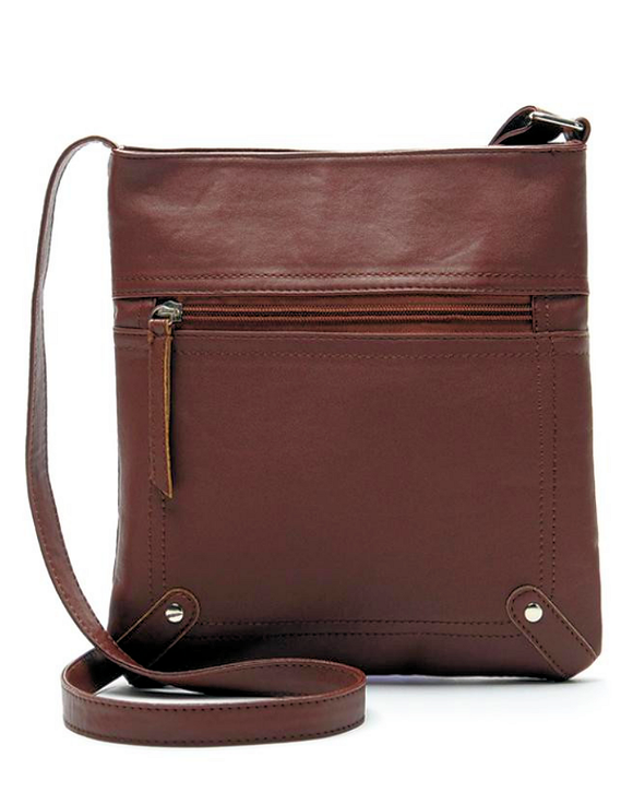 Faux Leather Messenger Crossbody Bag