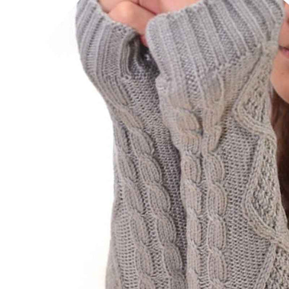 Warm Long Fingerless Knit Gloves