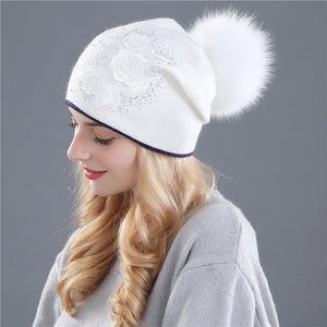 Beanie Hat with Rabbit Fur Top-Bobble