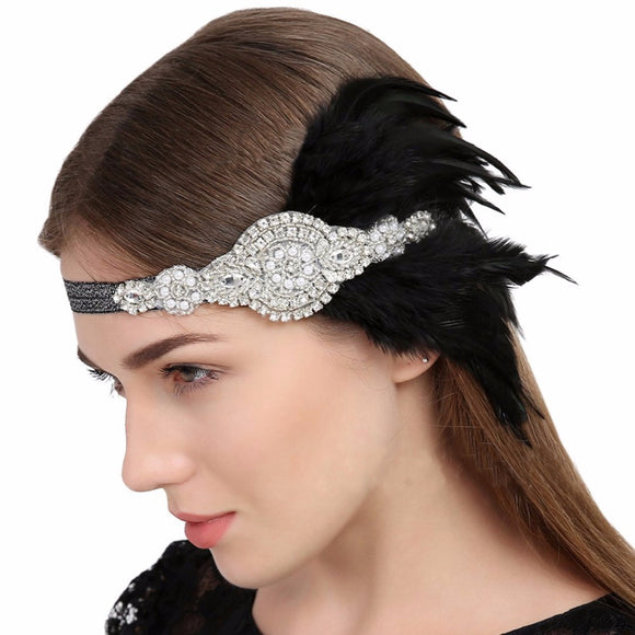 1920's Black Flapper Feather Headband