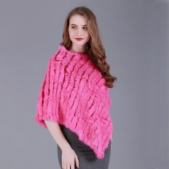 Genuine Rabbit Fur Poncho Capelet