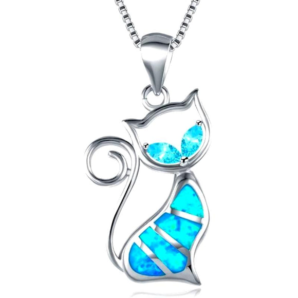 Blue Fire Curly Tail Cat Necklace