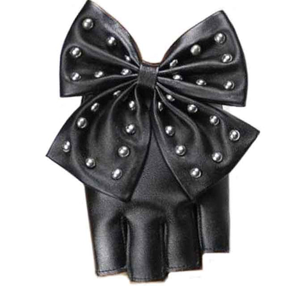Punk Rivet Bowtie Fingerless Gloves