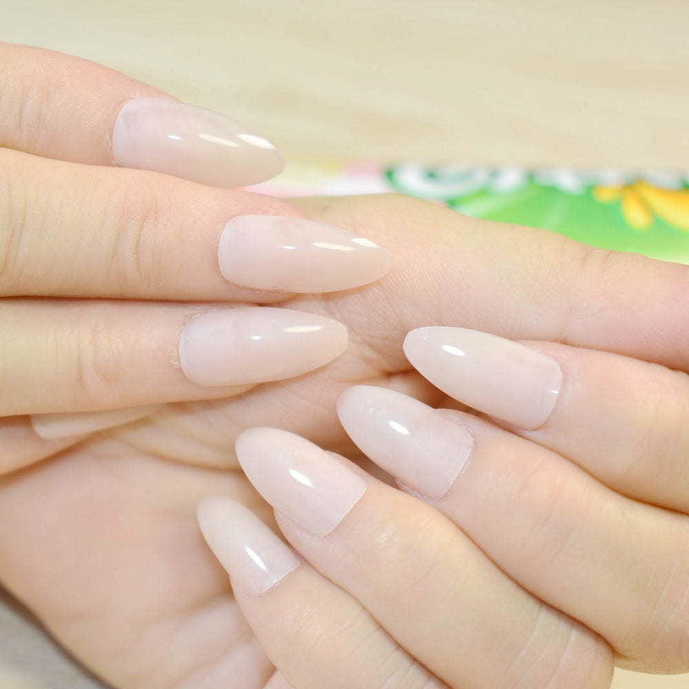 Simply Shiny Design STILETTO Fake Nails Tips Clear Beige Point Curve ...