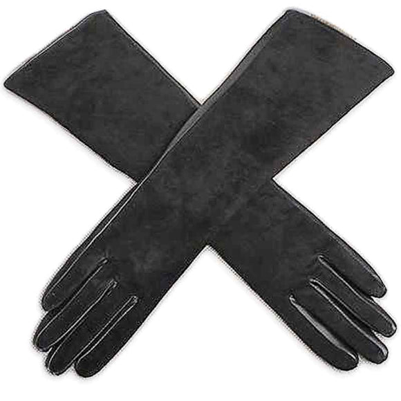 Long Suede Full-Finger Gloves