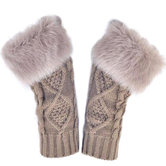 Wooly Faux Fur Trim Gloves