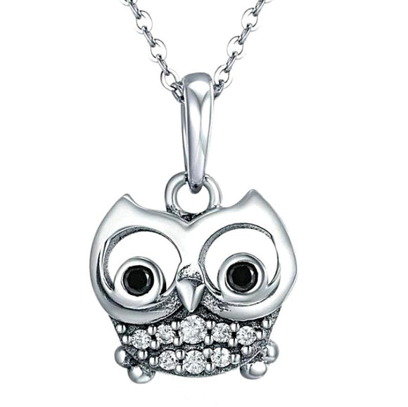 Stunning Silver Owl Necklace Pendant