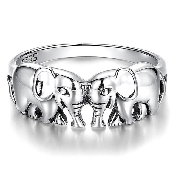 Head-to-Head Two Elephant Finger Ring