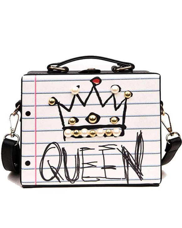 Crown & Graffiti Crossbody Handbag