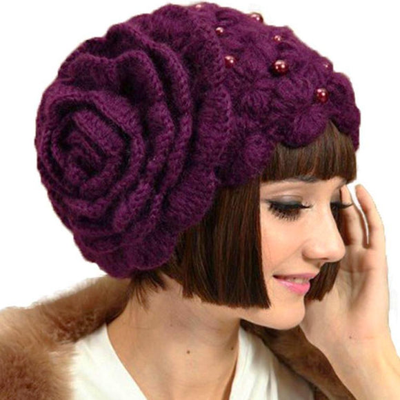 Knitted Beanie Hat w/ Large Flower
