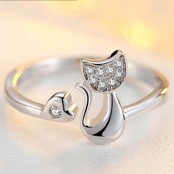Charming Crystal Top-Cat Finger Ring