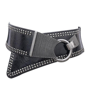 Large Studded Metal Ring Belt