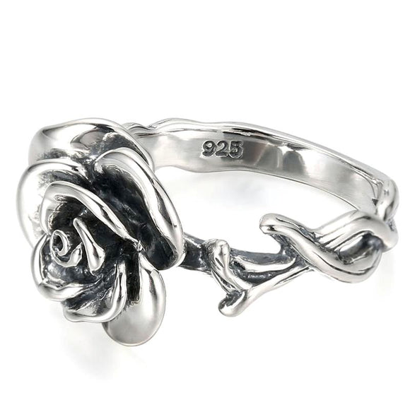 Silver Rose & Twining Branches Ring