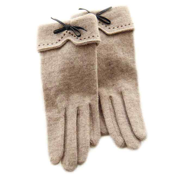 Wool Bow Tie Touch Screen Gloves
