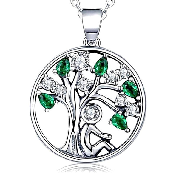Silver Circle Tree of Life Pendant Necklace w/ Colored CZ Crystal Leaves