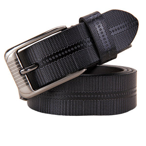 Plaid Textured Genuine Leather Belt