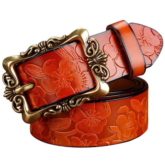 Flower Printed Wide Belt